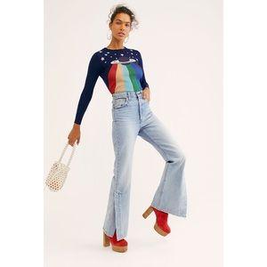 LEVI'S Ribcage Split Flare Light Wash Jeans